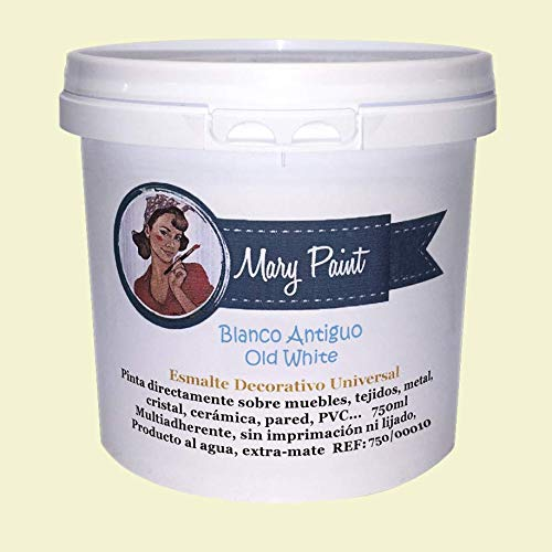 Mary Paint | Pintura para muebles efecto Chalk Paint, Blanco Antiguo – 750ml