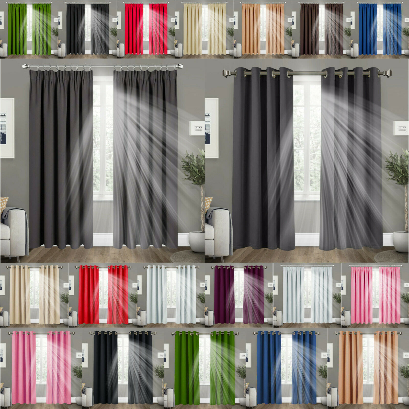 THERMAL BLACKOUT CURTAINS Eyelet / Ring Top OR Pencil Pleat with FREE Tie Backs