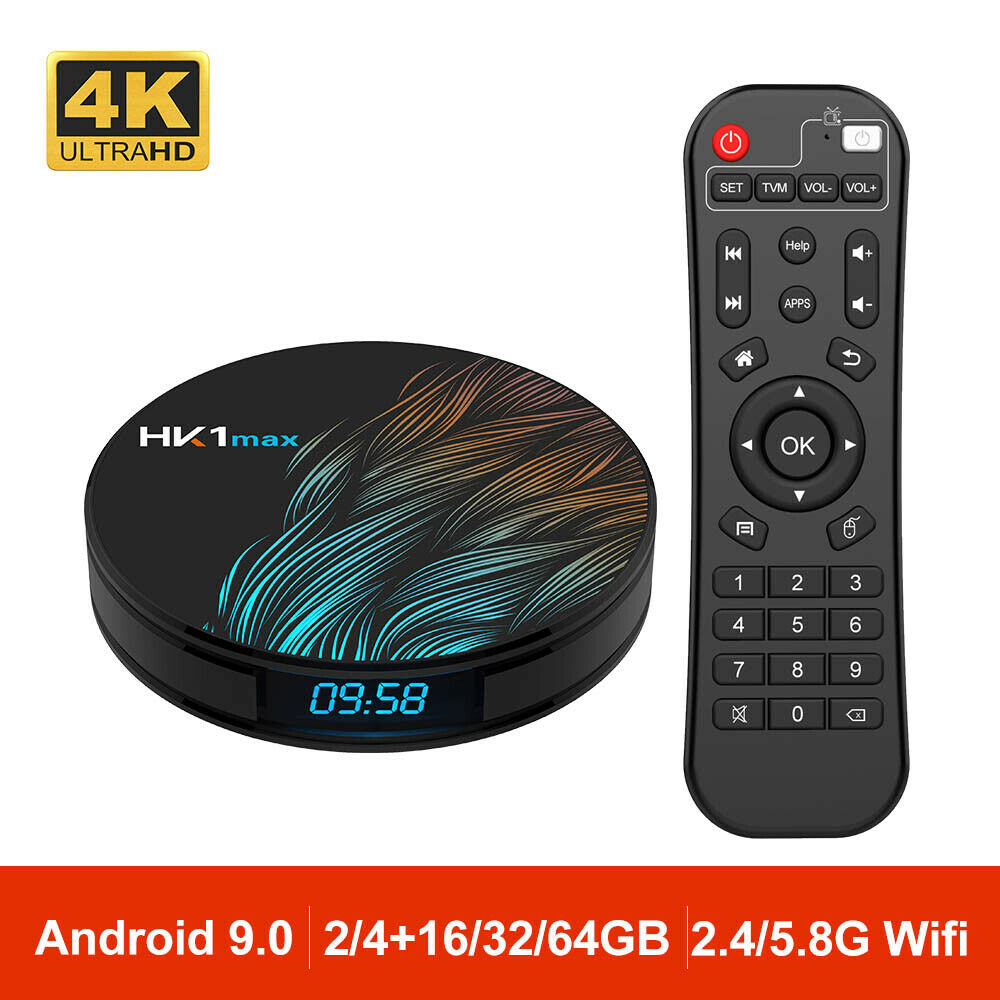 Android 9.0 HK1 MAX Mini Smart TV Box 4K HD BT4.0 RK3328 Quad Core Wifi TV CAJA